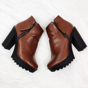 [BRECKELLES] Vegan Leather Chunky Heel Ankle Boots